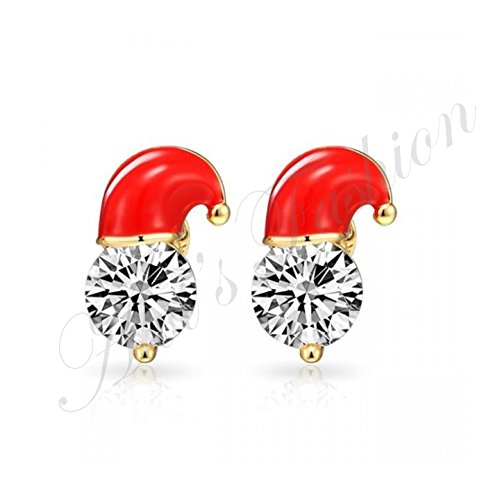 Price comparison product image New Christmas Zirconia new design earrings stud Santa Claus hat