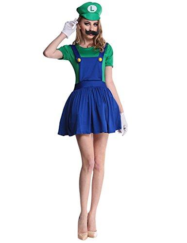 Ninimour Costume da donna da Super Mario Bros, costume di Halloween B-Grün XL