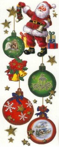dpr. Fensterbild Kugelgehänge Christbaumkugeln Nikolaus Weihnachtsmann Engel Weihnachten Advent Fenstersticker Fensterdeko