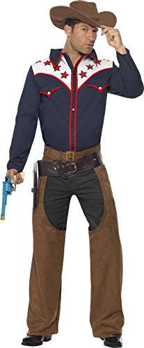 Kostüme Cowboy Western Hut (Smiffys, Herren Rodeo-Cowboy Kostüm, Hemd, Chaps und Hut, Größe: L,)