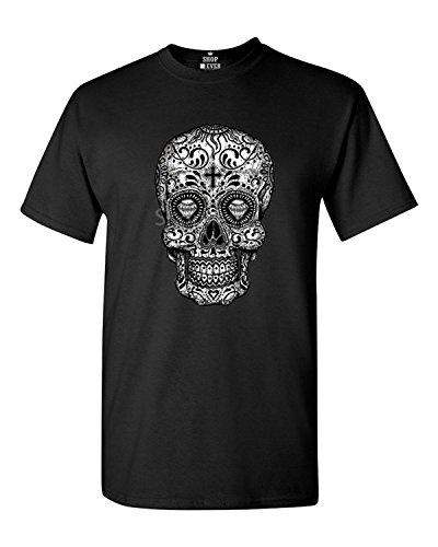 Sugar Skull Black & White T-shirt Day of the Dead Shirts Large