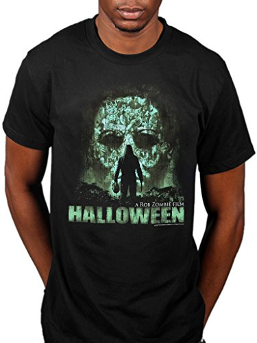Offizielles Halloween Vintage Face T-Shirt Horror Film Movie Michael Myers Gr. XL, Schwarz - Schwarz