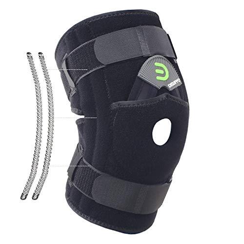 DISUPPO Knieorthese mit doppelseitigen Federstabilisatoren, offener Kniescheibenstabilisator für Gelenkentzündung, Gelenkschmerzen, Meniskus, Sehnenentzündung, Weiblich, männlich(Frühling, 2XL) (Knieorthese Für Arthritis Xxl)