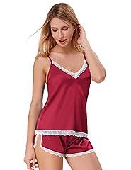Idea Regalo - Camicia da notte Donna Biancheria Intima Seta Pizzo Trasparente V-Collo Spalline Sottili 2 Pezzi Pigiama L rosso