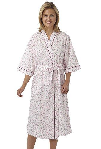 Mesdames Marlon Floral Cotton Poly Wrap, Robe de cérémonie, Robe de chambre MN18 Pink Floral