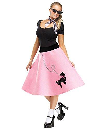50er Petticoat Rock mit Pudel rosa S/M (Rosa Pudel Rock Kostüme)