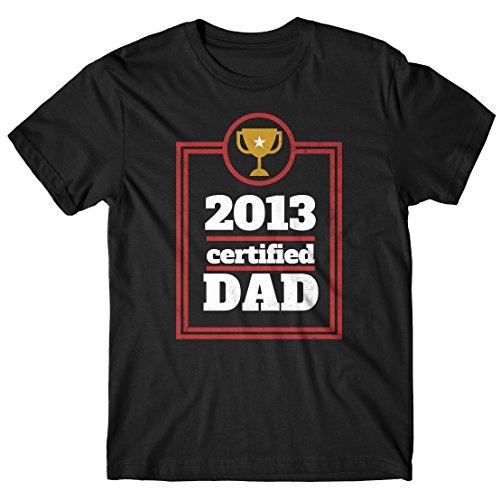Herren-T-shirt 2013 Certified Dad - 100% baumwolle LaMAGLIERIA Schwarz