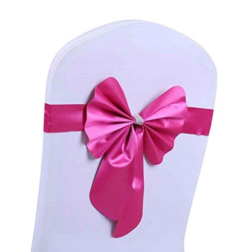Sunlera Elastische Mercerized Leder Kaninchen Bogen Stuhl-Abdeckung Sash Bands Hochzeit Dekor