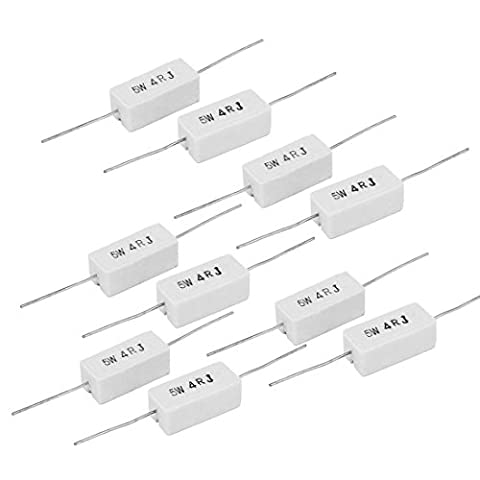 sourcingmap® 5W 4 Ohm 5% Radial Axial Lead Ceramic Cement Power Resistor 70mm Length 10 Pcs