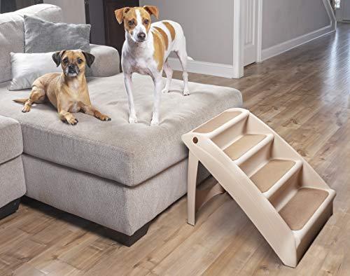 PetSafe Solvit Pupstep Plus Haustiertreppe, 4 Anti-Rutsch Stufen, für Hunde und Katzen -