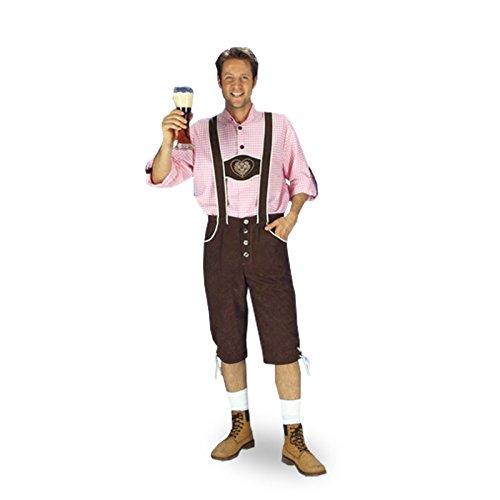 Preisvergleich Produktbild Trachten Lederhose mit Trachtenhemd, 2 tlg. Kostüm für Oktoberfest u Karneval - 58/60