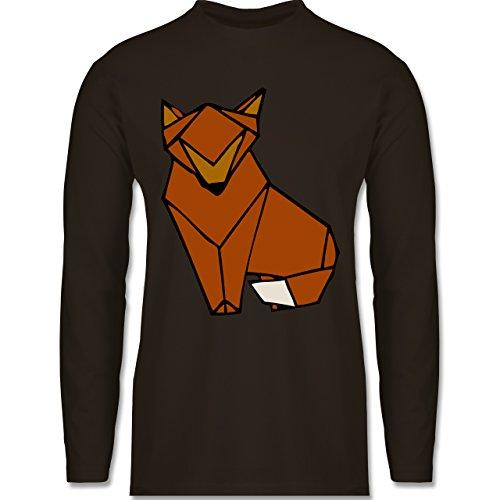 Eulen, Füchse & Co. - Origami Fuchs - Longsleeve / langärmeliges T-Shirt für Herren Braun