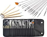 JZK Set 20 pennelli unghie gel professionali e kit dotter per unghie con punte tutte diverse strumenti per unghie gel decorazioni nail art disegni di precisione manicure pedicure, con un borsa