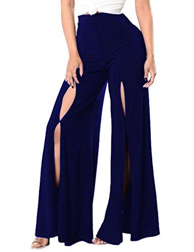 Bigood Pantalon Jambe Large Grand Taille Femme Vogue en Polyester Bleu