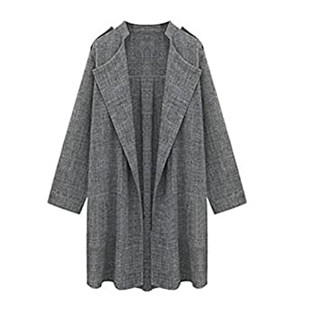 Anglewolf Womens Open Front Trench Coat Long Cloak Jackets Waterfall Cardigan (M)