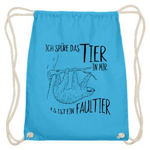 Ich spüre das Tier in mir, es ist ein Faultier | coole Faultier-Skizze für echte Faulenzer - Baumwoll Gymsac -37cm-46cm-Himmel-Blau