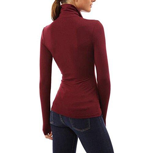 LaoZan Damen Top Geraffter V-Ausschnitt Lange Ärmel Sexy Bluse Shirt Sweatshirt Rot