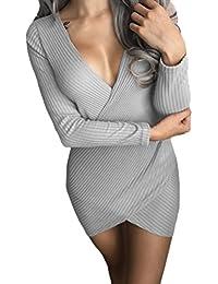 Vestiti Donna Eleganti da Cerimonia Autunnali Invernali Manica Lunga V  Scollo Tubino Vintage Moda Giovane Casual Vestiti Corti Matita Abito… 2bd299ddd4a