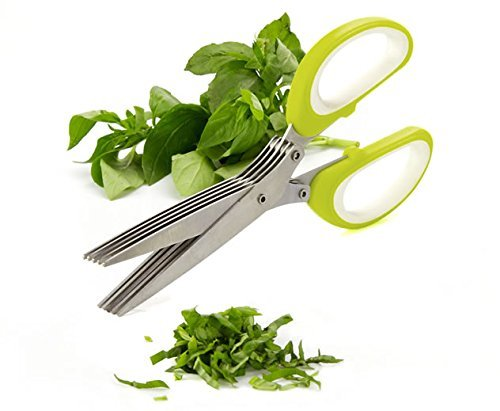 Orpio Multifunction 5 Blade Vegetable Stainless Steel Herbs Scissor-Multicolor
