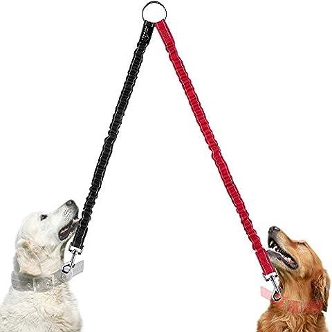 Hundeleine Doppelleine, PETBABA 40cm Lang Elastisch Reflektierend Nylon Training Hunde Leine für 2 Hunde Rot
