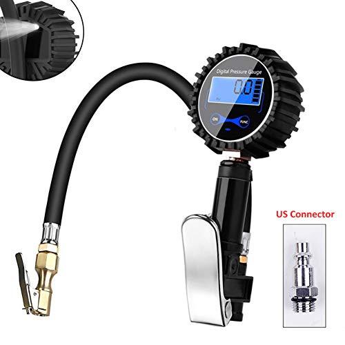 omufipw Digital-LED-Manometer mit 0 1-Bildschirmauflösung Reifenfüller mit Gummischlauch und Schnellkupplung 200-psi-Luftfutter und Kompressorzubehör -