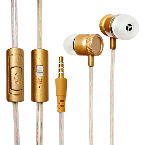 ECell Premium 3.5mm [GOLD] Metal Cutting Hifi In-ear Music Headphones With Mic Earphones Stereo Sound Hands-free For Sony Xperia M  available at amazon for Rs.249