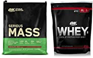 Optimum Nutrition (ON) Serious Mass Weight Gainer Protein Powder - 12 lbs, 5.44 kg (Chocolate) and Optimum Nut