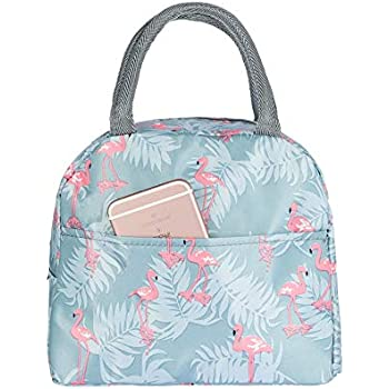 Blue Flamingo Insulated Lunch Bag VLikeze Wide Open Lunch Tote Lunch Box Picnic Bags Thermal Leak-Proof Lunch Cooler Bag Meal Prep Bag Water-Resistant Lunch Organizer for Women Men Girls Children