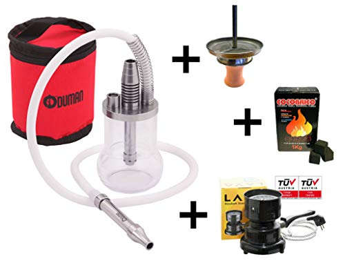 Oduman Shisha Micro Micro + Atom Kaminset + Cocobrico 1kg + Elektrischer Kohleanzünder HP-5