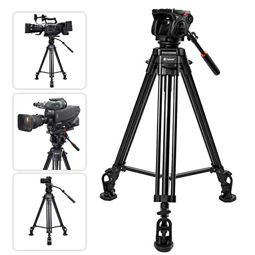 TARION Profi Stativ Kamera Video Stativ 160cm Doppelrohrstativ mit 360° Panorama Videoneiger und Schnellwechselplatte für Sony Panasonic JVC Kameras und Camcorder (max. Nutzlast 15KG)
