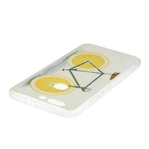 OuDu Etui en Silicone pour iPhone 7 Housse Souple de Protection Coque TPU Caoutchouc Etui Flexible Lisse Housse Ultra Mince Coque Poids Léger Soft Silicone Case Cas Motif Créatif Couverture Anti Rayur Vélo de Orange