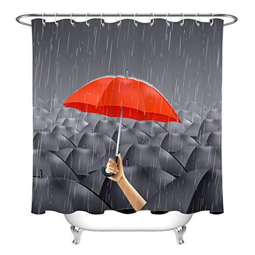 Caichaxin Paraguas Rojo Debajo Paraguas Cortina Ducha