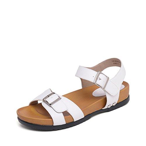 Ladies summer metal schnalle mit sandalen,bequeme flache unterseite mit einem wort knöchel armband römische schuhe-A Fußlänge=23.3CM(9.2Inch) (Schnalle Buffalo)