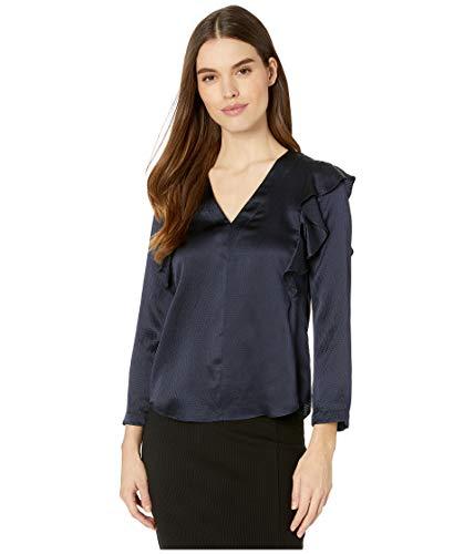 Rebecca Taylor Damen Long Sleeve Silk Ruffle Top Hemd, Marineblau-Mix, 40 -