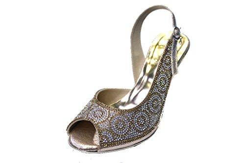W & W femmes Mesdames Soirée Fashion Sandales Confort Diamante Mariée Mariage Bloc Talon Chaussures Taille 4–9(Merci) Doré