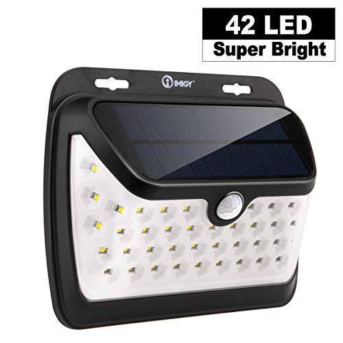 imiGY Solarlichter Bewegungsmelder Sicherheitslichter, 42 LED Solarlicht, Gehwegbeleuchtung Kabelloses, wasserdichtes Sicherheitslicht für Patio(3 Modi Bewegung aktiviert, Weitwinkelsensor)