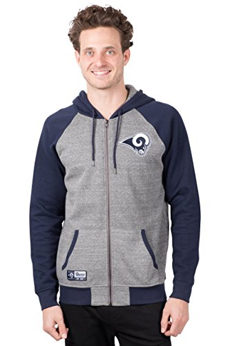 ICER Brands NFL Herren Kapuzenpullover mit Reißverschluss Raglanjacke, Teamfarbe, Herren, Full Zip Hoodie Sweatshirt Raglan Jacket, Team Color, grau, Medium - Running Shirt Gry