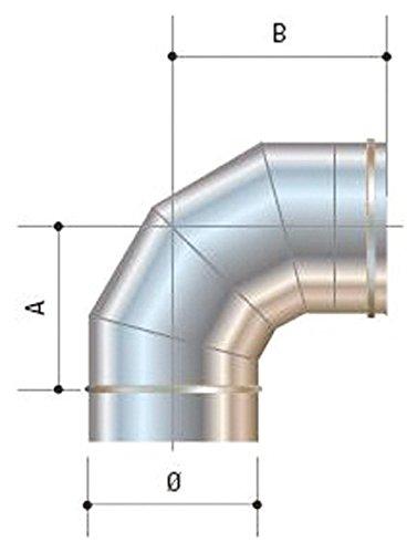 CORDIVARI–aluminié acier inoxydable D. 140Mono Mural AISI 316L CORDIVARI–-Courbe à 90°