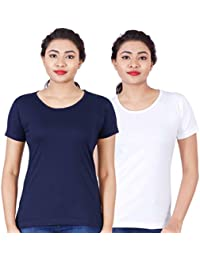 Fleximaa Women's Cotton Round Neck T-Shirt Plain (Pack Of 2) - Navy Blue & White Colors.