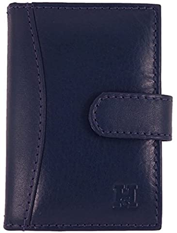Quality Soft Leather Credit Card Holder with 20 Plastic Card Sleeves/Slots in 7 Colours (Navy)