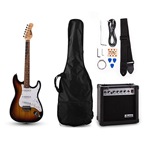 Austin RC200 E-Gitarren Bass Gitarre-Set Einsteiger Komplettset im Stratocaster-Style (20W Gitarrenverstärker, Instrumentenkabel, Gitarrengurt, Gitarrentasche, Stimmpfeife) sunburst