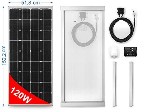 Solarmodul 120W MONOKRISTALLIN für Wohnmobile. Kit komplett mit Zubehör für die Montage und-Regler 10A