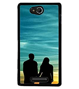 Printvisa Vector Pic Of A Romantic Couple At Sunset Back Case Cover for Sony Xperia C::Sony Xperia C HSPA+ C2305