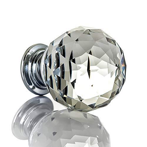 probrico 20 mm rund Glas Küche Schrank Knauf Diamant klar Möbel Schublade Schrank Griff Kristall Pull mit Schrauben 1 PCS -