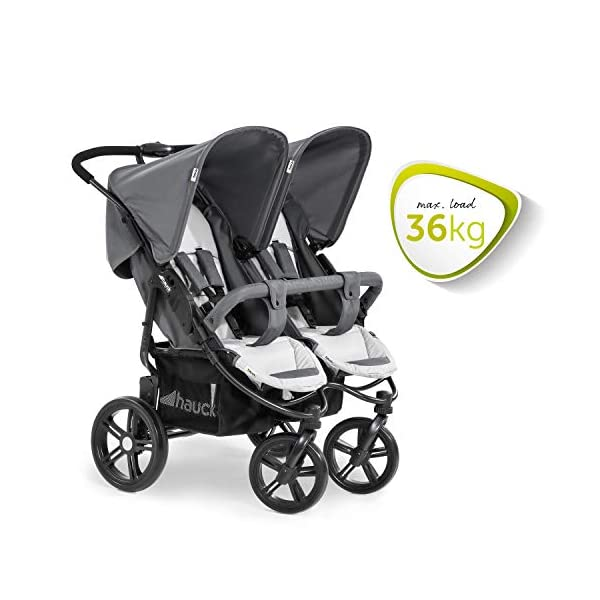 Hauck Roadster Duo SLX Double Pushchair, Grey/Silver, 14 kg Hauck Twin and sibling stroller suitable for two children or new-borns by combining it with the separately available hauck 2 in 1 carrycot, this pushchair holds 2 x 15 kg Fits through doors despite the children sitting side by side, roadster duo slx fits through doors and elevators as it measures 76 cm only Comfy both backrest and footrest come with sun hood, as well as large shopping baskets and are individually adjustable up to lying position; the pushchair is easy to fold away with one hand 2