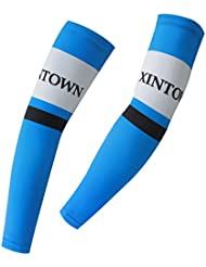 aiqi deportes Unisex Rode para bicicleta UV Protección Brazo Mangas caliente funda, Mujer hombre, color azul, tamaño large