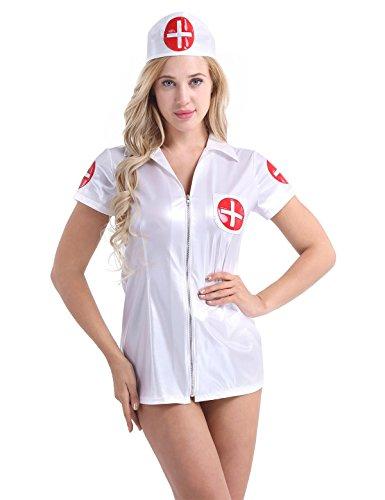 iEFiEL Damen-Lingerie Negligee Dessous Nachtkleid Wetlook Leder-optik Pflegeuniformen gebündelte Krankenschwester Kostüm mit Haube Weiß Large (Nacht-krankenschwester Halloween-kostüm)