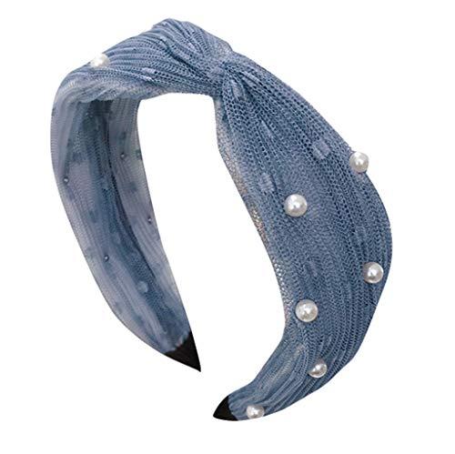iCerber Frauen Crystal Stirnband Stoff Haarband Kopf Wickeln Haarband Zubehör Mesh-Perlenschleife mit feinem Seitenstirnband