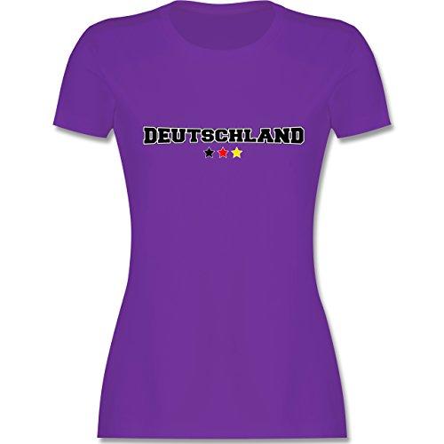 EM 2016 - Frankreich - Deutschland College Schriftzug - tailliertes Premium T-Shirt mit Rundhalsausschnitt für Damen Lila