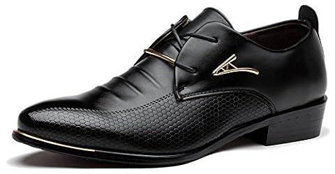 Viihahn Herren Leder Lace-up Spitzschuh Hochzeit Geschäfts-Kleid Oxfords Schuhe 46 EU Schwarz